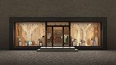 store  night exterior, 3d illustration