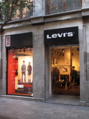 Store of the american brand of fashion Levi's in Fuencarral Street of Madrid a pedestrian street in the center of Madrid with many fashion boutiques...