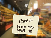 Store open sign free wifi internet