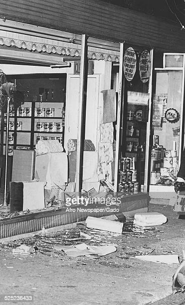 Storefront and debris during the aftermath of a riot Baltimore Maryland April 9 1968
