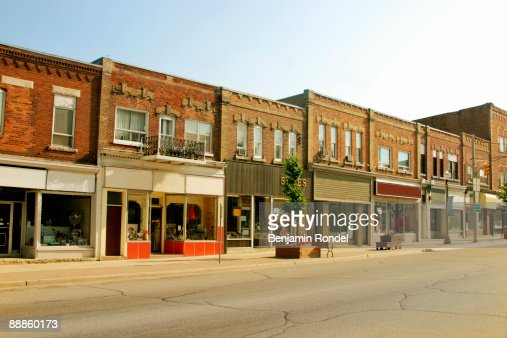 Storefront buildings in a small town : Stock Photo