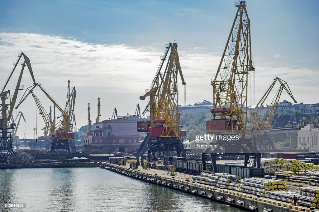 Stores of steel awaiting shipment sit on the dockside at Odessa central port in Odessa, Ukraine, on Wednesday, Sept. 13, 2017. A Pennsylvania company will send 700,000 tons of coal to Ukraine in a deal the administration of PresidentDonald Trumpheralded as an important tool to undercut the power Russia has over its European neighbors. Photographer: Vincent Mundy/Bloomberg via Getty Images