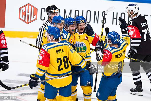 Storhamar players celebrates 30 lead after during the Champions Hockey League round of eight game between TPS Turku and Storhamar Hamar at HK Areena...