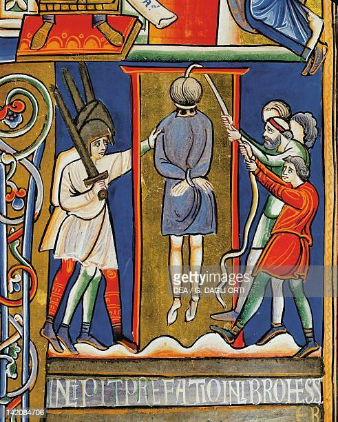 Stories of Esther the hanging of Haman miniature from the Bible of Souvigny Latin manuscript 1 folio 284 recto 12th Century Detail