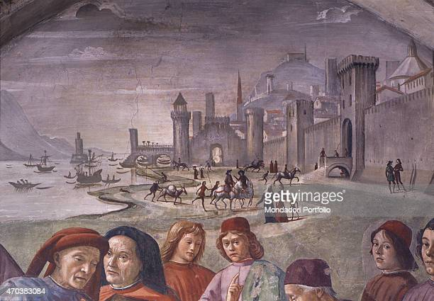'Stories of St Francis by Domenico Ghirlandaio 14821485 15th century fresco Italy Tuscany Florence Basilica of Santa Trinita Detail Episode of the...