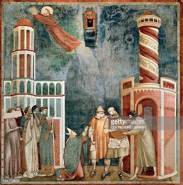 Stories of St Francis freeing the heretic fresco by the Master of Saint Cecilia Upper Church Papal Basilica of St Francis of Assisi Assisi Umbria...