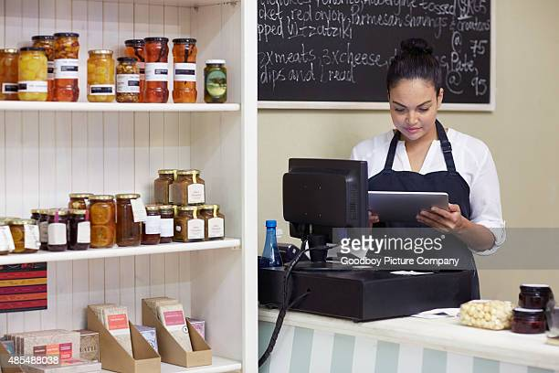 Storing her store's admin in her tablet