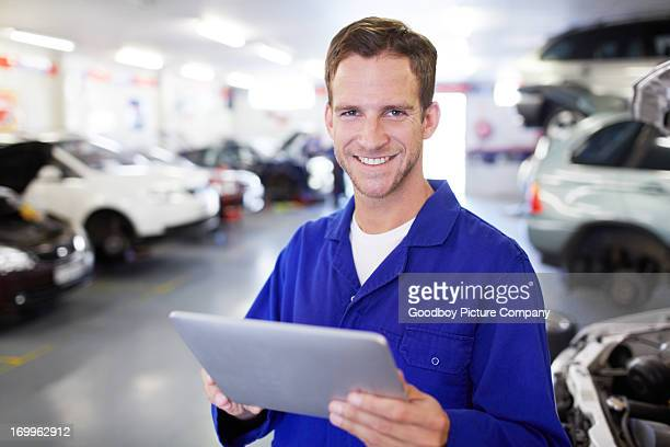 Storing the auto info on his tablet
