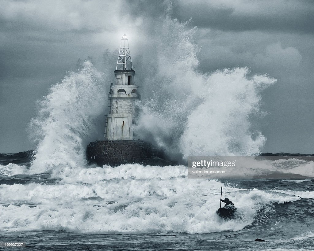 Storm and lighthouse : Stock Photo