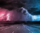 Storm and thunder on road