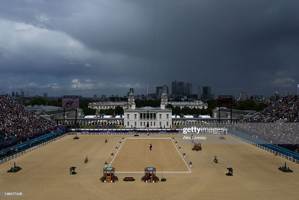 A storm approaches as Camilla Speirs of Ireland riding Portersize Just A Jiff competes in the Dressage Equestrian event on Day 2 of the London 2012 Olympic Games at Greenwich Park on July 29, 2012 in London, England.