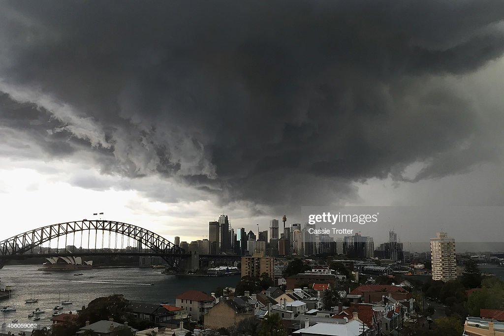 A storm approaches the Sydney central business district on September 25, 2014 in Sydney, Australia. The Bureau of Meterology issued a severe thunderstorm warning predicting rain and possible hail.