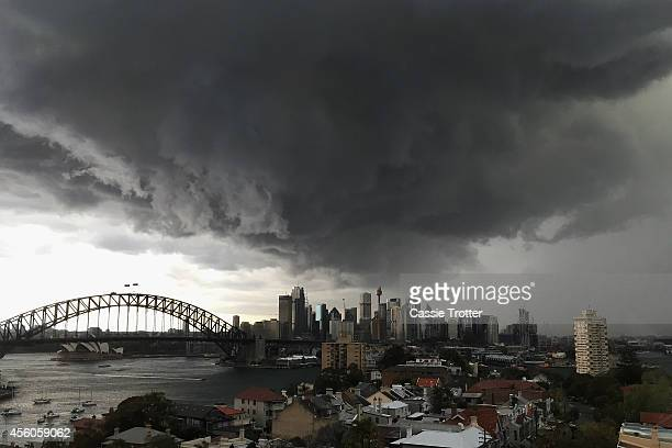 A storm approaches the Sydney central business district on September 25 2014 in Sydney Australia The Bureau of Meterology issued a severe...