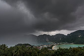A storm approaches the popular tourist island of Koh Phi Phi, Thailand.