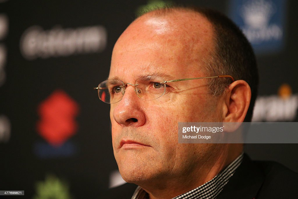 Storm CEO Mark Evans speaks to media about Cameron Smith who has signed a four year contract extension and breaks the game record for a Storm player this weekend during a Melbourne Storm NRL media session at AAMI Park on March 11, 2014 in Melbourne, Australia.