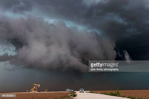 Storm chase vehicles with a Texas tornado