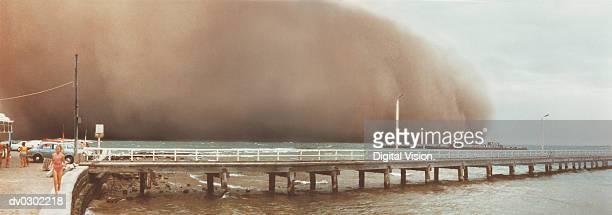 Storm cloud near pier