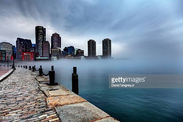 Storm clouds and fog approaching Downtown Boston, Massachusetts