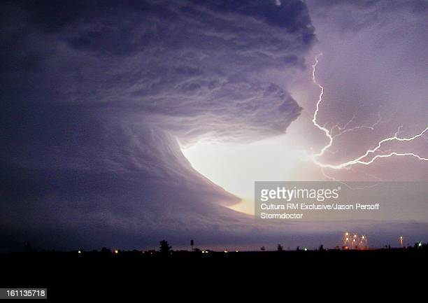 Storm clouds and lightning strike