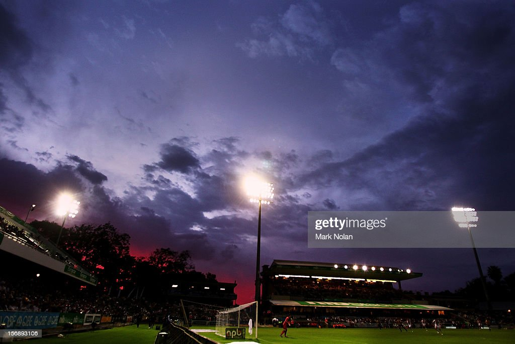 Storm clouds clear as the sun sets during the round eight A-League match between Perth Glory and Wellington Phoenix at NIB Stadium on November 24, 2012 in Perth, Australia.
