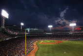 Storm clouds form over Fenway Park during during the fifth inning of the game between the Boston Red Sox and the Minnesota Twins on July 22 2016 in...