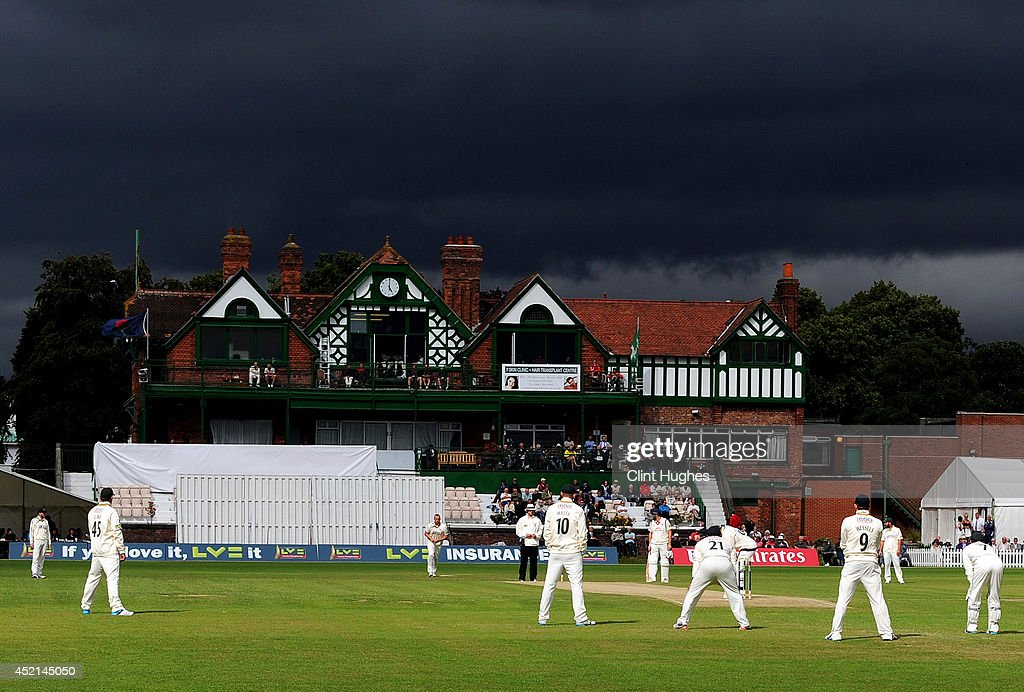 Storm clouds gather at Liverpool Cricket Club during day two of the LV County Championship Division One match between Lancashire and Nottinghamshire at Liverpool Cricket Club on July 14, 2014 in Liverpool, England.