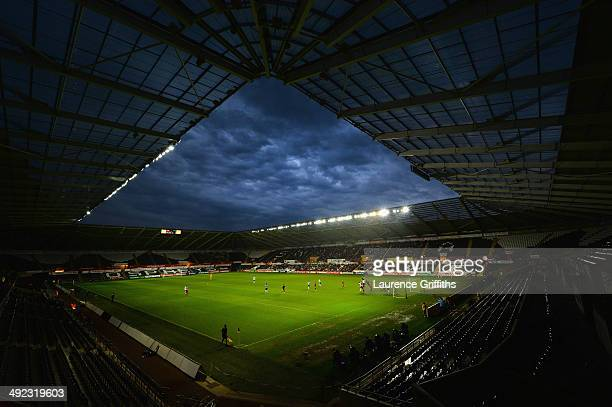 Storm clouds gather during the 2015 UEFA European U21 Championships Qualifier between Wales and England at Liberty Stadium on May 19 2014 in Swansea...