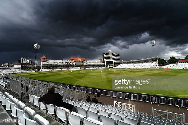 Storm clouds gather during the LV County Championship match between Nottinghamshire and Somerset at Trent Bridge on May 19 2015 in Nottingham England