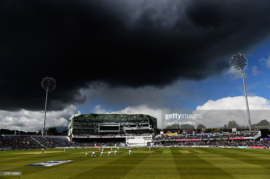 Storm clouds gather over the Carnegie Pavilion during day one of the 2nd Investec Test Match between England and New Zealand at Headingley on May 29...