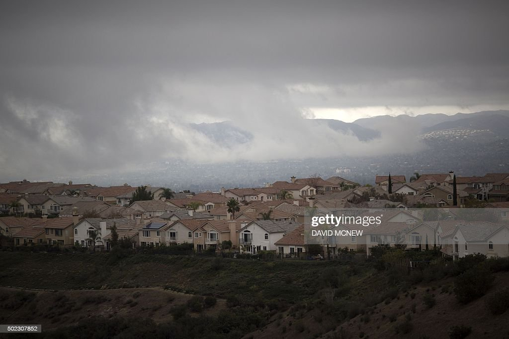 Storm clouds hang over the city as people continue to be effected by a massive naturalgas leak in the Porter Ranch neighborhood of the of the San...
