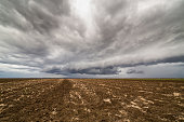 Storm clouds over arable land