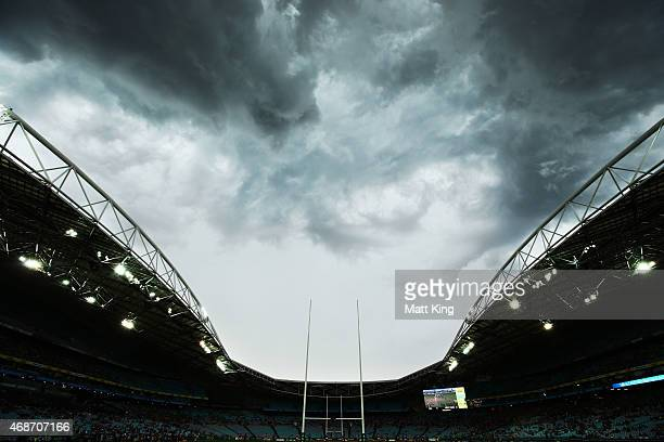 Storm clouds roll over ANZ Stadium before the round five NRL match between the Parramatta Eels and the Wests Tigers at ANZ Stadium on April 6 2015 in...