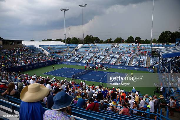 Storm clouds roll over grandstand court 2 during Day 3 of the Western Southern Open at the Linder Family Tennis Center on August 17 2015 in...