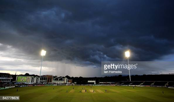 Storm clounds move in to halt play during The NatWest T20 Blast game between Durham Jets and Yorkshire Vikings at Emirates Durham ICG on June 24 2016...