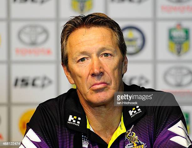 Storm coach Craig Bellamy looks on at the post match media conference at the end of during the round four NRL match between the North Queensland...