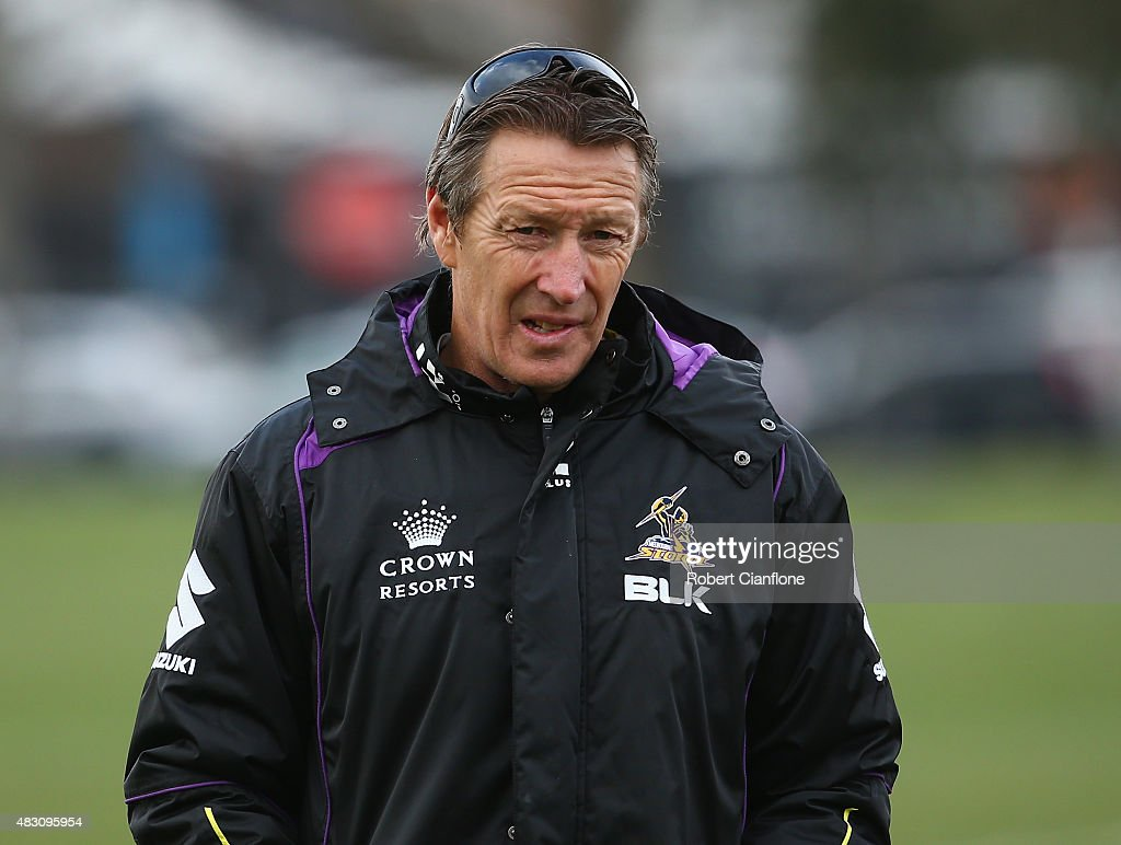 Storm coach Craig Bellamy looks on during a Melbourne Storm media session at Gosch's Paddock on August 6, 2015 in Melbourne, Australia.