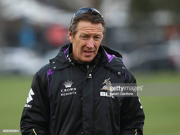 Storm coach Craig Bellamy looks on during a Melbourne Storm media session at Gosch's Paddock on August 6 2015 in Melbourne Australia
