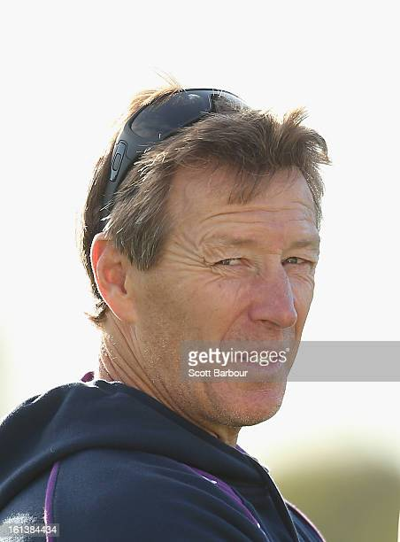 Storm coach Craig Bellamy looks on during a Melbourne Storm NRL training session at Gosch's Paddock on February 11 2013 in Melbourne Australia