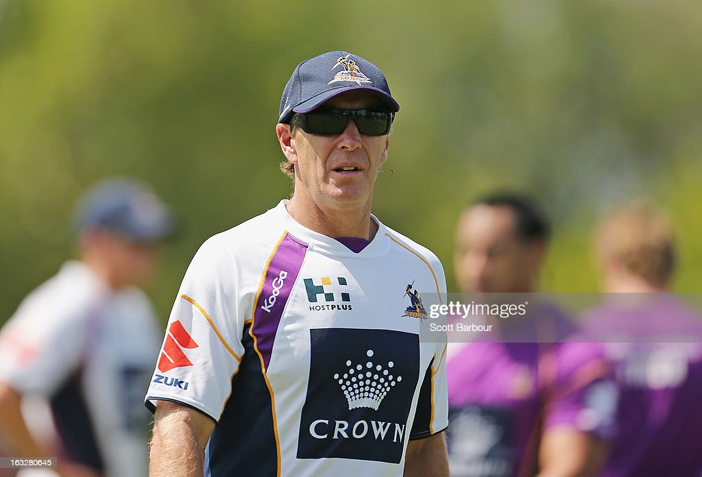 Storm coach <a gi-track='captionPersonalityLinkClicked' href=/galleries/search?phrase=Craig+Bellamy&family=editorial&specificpeople=203318 ng-click='$event.stopPropagation()'>Craig Bellamy</a> looks on during a Melbourne Storm NRL training session at Gosch's Paddock on March 7, 2013 in Melbourne, Australia.