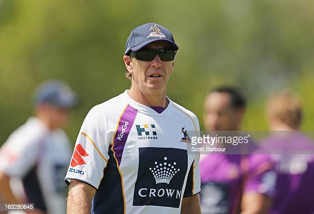 Storm coach Craig Bellamy looks on during a Melbourne Storm NRL training session at Gosch's Paddock on March 7 2013 in Melbourne Australia