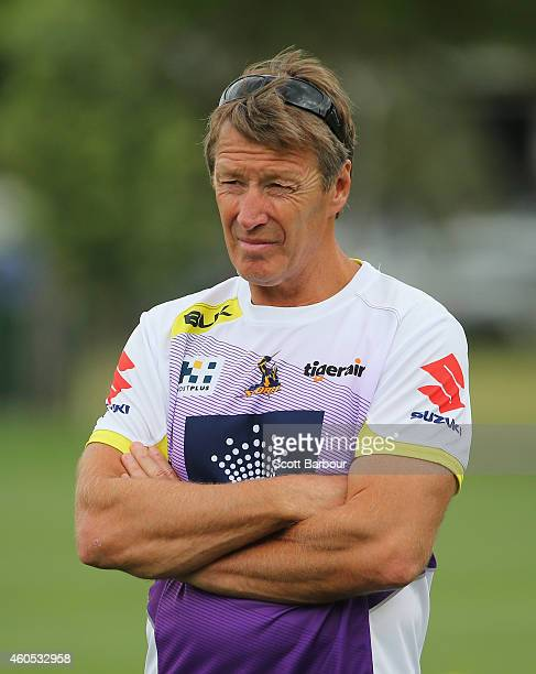 Storm coach Craig Bellamy looks on during a Melbourne Storm NRL training session at Gosch's Paddock on December 16 2014 in Melbourne Australia