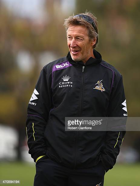 Storm coach Craig Bellamy looks on during a Melbourne Storm NRL training session at Gosch's Paddock on April 22 2015 in Melbourne Australia
