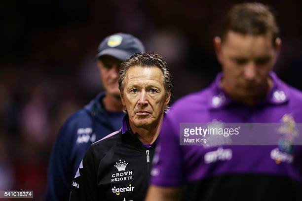 Storm coach Craig Bellamy looks on just before kickoff during the round 15 NRL match between the St George Illawarra Dragons and the Melbourne Storm...