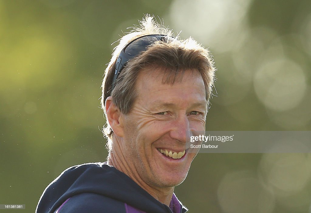 Storm coach <a gi-track='captionPersonalityLinkClicked' href=/galleries/search?phrase=Craig+Bellamy+-+Rugby+League&family=editorial&specificpeople=15068000 ng-click='$event.stopPropagation()'>Craig Bellamy</a> smiles during a Melbourne Storm NRL training session at Gosch's Paddock on February 11, 2013 in Melbourne, Australia.