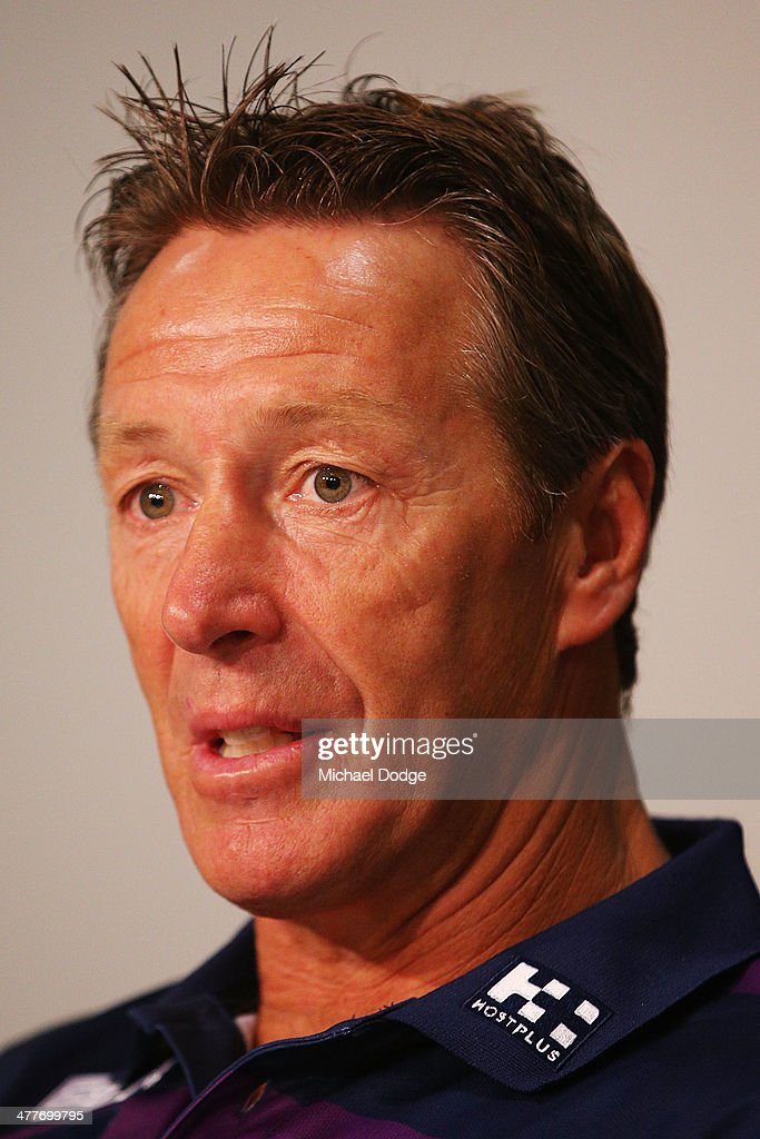 Storm coach Craig Bellamy speaks to media about Cameron Smith who has signed a four year contract extension and breaks the game record for a Storm player this weekend during a Melbourne Storm NRL media session at AAMI Park on March 11, 2014 in Melbourne, Australia.