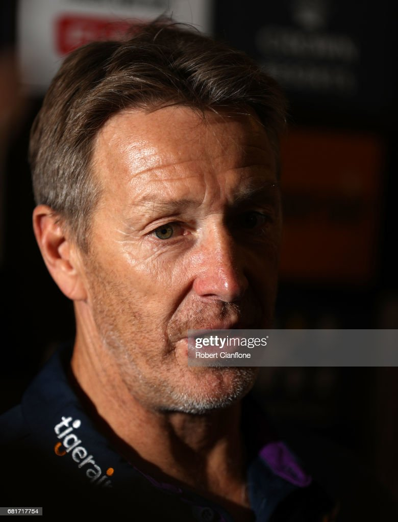 Storm coach Craig Bellamy speaks to the media during a Melbourne Storm NRL media opportunity at AAMI Park on May 11, 2017 in Melbourne, Australia.