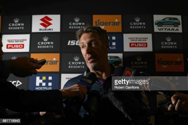 Storm coach Craig Bellamy speaks to the media during a Melbourne Storm NRL media opportunity at AAMI Park on May 11 2017 in Melbourne Australia
