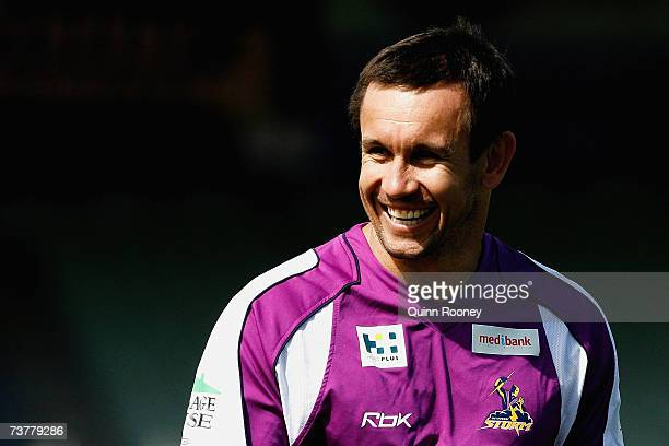 Storm coaching consultant Matthew Johns has a laugh with players during a Melbourne Storm NRL training session at MC Labour Park on April 3 2007 in...