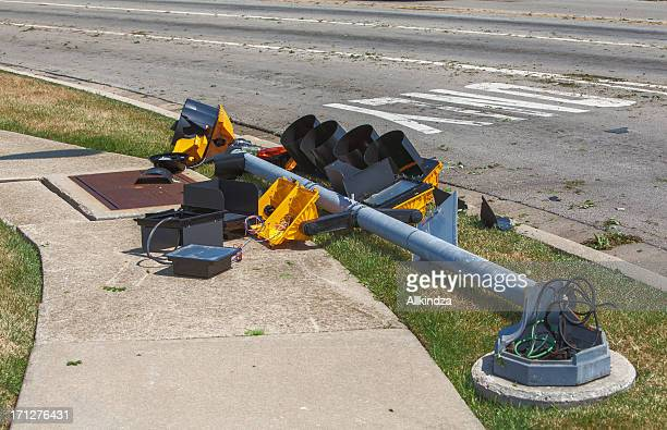 storm damaged traffic light
