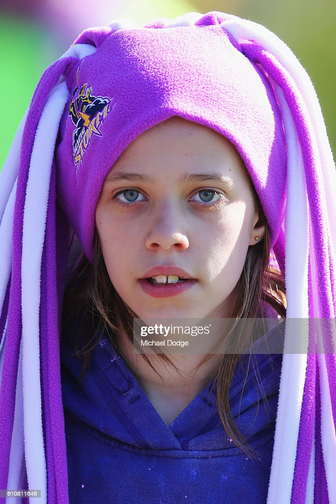 A Storm fan shows her support during a Melbourne Storm NRL training session at Gosch's Paddock on September 28, 2016 in Melbourne, Australia.